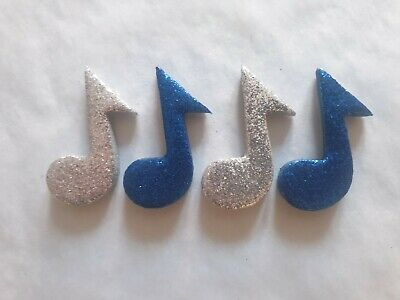 £4.50 • Buy 12 Glittery Blue & Silver Music Notes- Edible Sugar Cake Decorations / Toppers