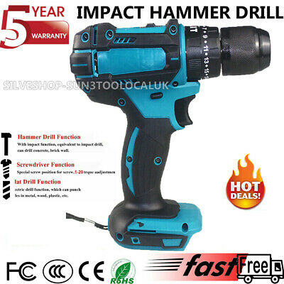 £34.70 • Buy TEETOK 18V Cordless Impact Hammer Drill Body Only For Makita Replacement Drill