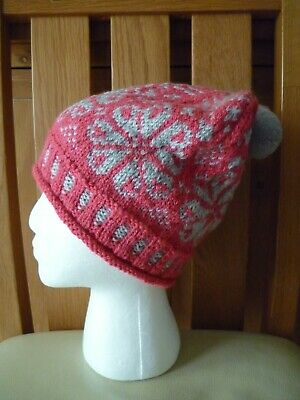 £12 • Buy Ladies Hand Knitted Grey And Salmon Fair Isle  Beanie Hat With Pom Pom