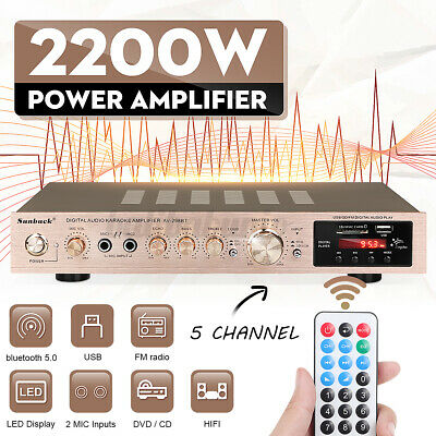 £42.99 • Buy 2000W Bluetooth 5.0 HiFi Power Amplifier Audio Digital Stereo FM AMP With Remote