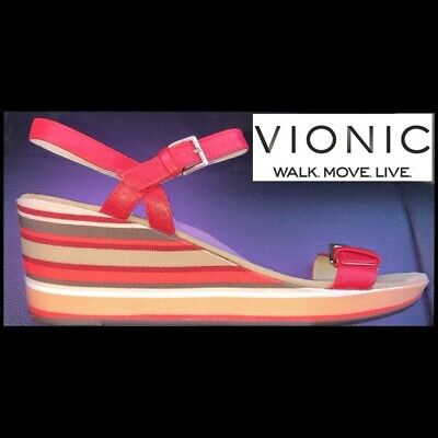 £39.93 • Buy Vionic Enisa Orthaheel Sandals Striped Wedge Women's Sz 8 US 39 EU Red Leather