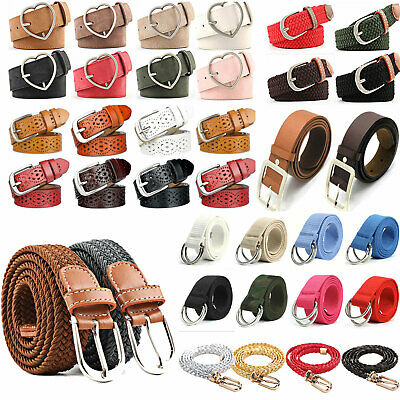£2.79 • Buy Womens Stretch Belt Braided Elastic Woven Canvas PU Leather Buckle Waistband New