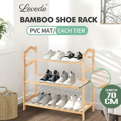 AU32.10 • Buy Levede Bamboo Shoe Rack Storage Wooden Organizer Shelf Stand 3 Tiers Layers 70cm