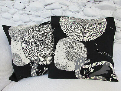 £7.99 • Buy Cushion Cover, 17 , Black, Greys, Cream, Abstract Floral, Ikea Fabric, Cotton.