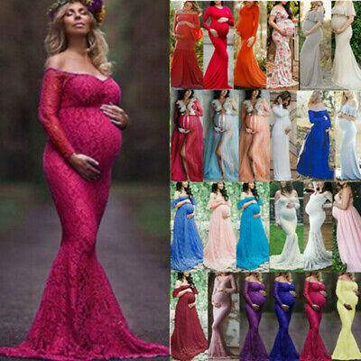 £14.49 • Buy Women Maternity Photography Lace Gown Pregnant Photo Shoot Props Long Maxi Dress