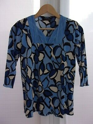 £7.99 • Buy Forever By Michael Gold 3/4 Sleeve Blue Square Neckline Plisse Top Size Medium