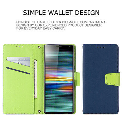 AU9.99 • Buy For Sony Xperia XA2 XR XZ1 XZ3 10 II L4 Contrast Leather Wallet Stand Phone Case