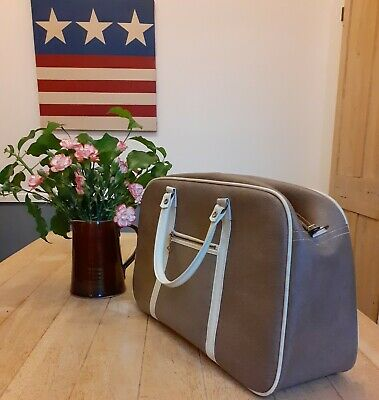 £20 • Buy Vintage Retro Lady's Cheney Carry On Bag/ Case/ Grip Vinyl Taupe Cream With Key