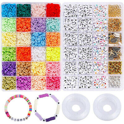 £9.99 • Buy 1 BOX Clay Heishi Beads Letter Beads For DIY Bracelets Jewelry Making Finding