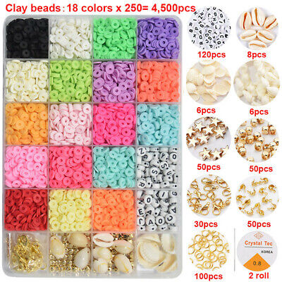 £12.59 • Buy 1 Box 6mm Polymer Flat Clay Beads Spacer Charms For DIY Bracelets Jewelry Making