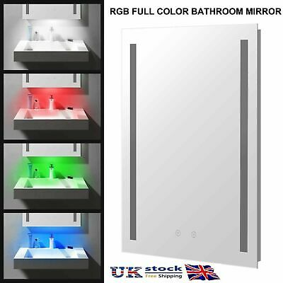 £65.99 • Buy RGB LED Bathroom Mirror With Light Shaver Socket Demister Touch Switch