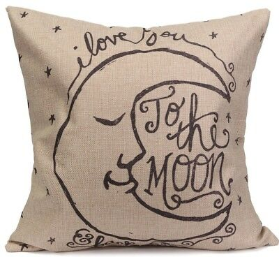 £4.39 • Buy LOVE You To The MOON & Back LINEN COTTON Crescent Moon CUSHION COVER, UK Seller