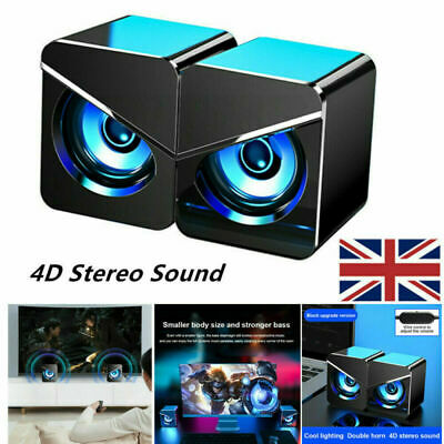 £10.99 • Buy Surround Sound System LED PC Speakers Gaming Bass USB Wired Desktop Computer UK
