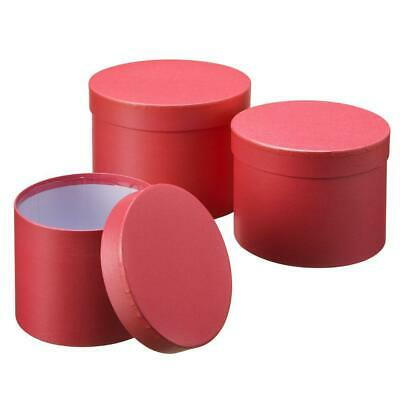 £11.50 • Buy Set Of 3 Oasis Round Red Hat Box Boxes Christmas Florist Home Gift Decoration