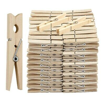 £3.49 • Buy Wooden Clothes Pegs Clips Pine Washing Line Airer Dry Line Wood Peg Gardens