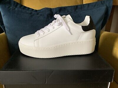 £55 • Buy ASH White Leather Platform Trainers With Black Snakeskin Effect Back.