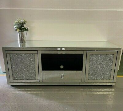 £349.95 • Buy Large Mirrored Silver Glass Sparkly Diamond Glitz Crystal TV Cabinet Stand Unit