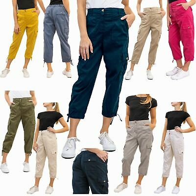 £21.95 • Buy Womens M&S Trouser Cropped Cargo Cotton Rich Casual Tapered Pants Pockets Ladies