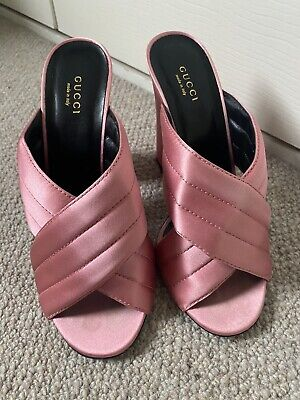 AU245.33 • Buy Gucci Webby Shoes Crossover Mules Heels Pink Satin Size EUR 40 UK 7