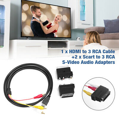 £7.49 • Buy 1080P HDMI Male S-video To 3 RCA AV Audio Cable W/ SCART To 3RCA Phono Adapter
