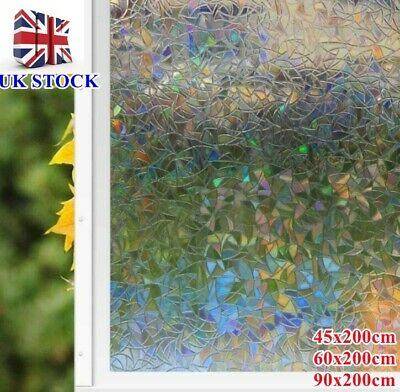£7.59 • Buy 3D Rainbow Window-Film, Stained Glass Static Cling Sticker Frosted,Home Privacy