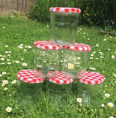 £9.50 • Buy 6 X Bonne Maman Empty Glass Jam Jars Red Gingham 250ml/370g For Home Made Jam