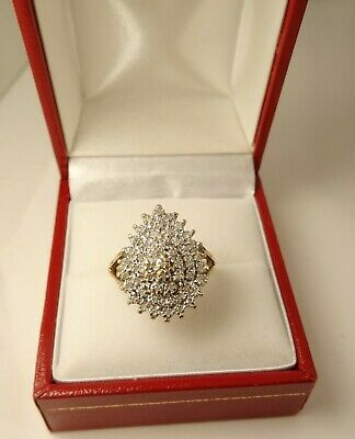 £335 • Buy WOW Large Head 9ct Gold 1ct DIAMOND Cluster Ring Pear Shape Sm Sz K Hm Ex Cond