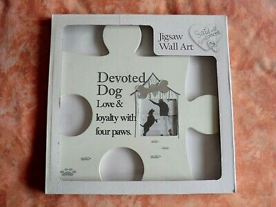 £10 • Buy Jigsaw Wall Art Devoted Dog Wall Hanging Picture Frame - New In Box