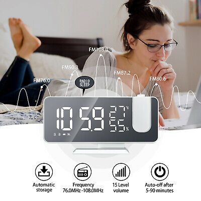 AU35.90 • Buy Smart Digital LED Projection Alarm Clock Time LCD Temperatures Projector Display