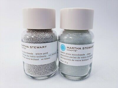 £10.97 • Buy NEW Lot Of 2 Martha Stewart Luster Glass Microbeads 3.2 Oz White Gold And Clear
