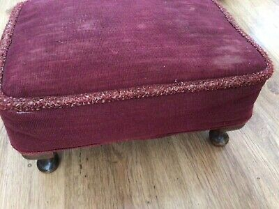 £22.80 • Buy Antique Style Footstool Red Velvet Top Queen Anne Style Legs Made In England