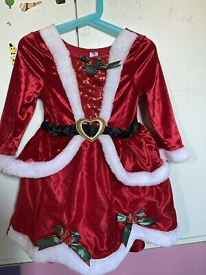£8 • Buy Girls Mrs Santa Claus Christmas Outfit Fancy Dress Up Costume 3-4 With Hair Band