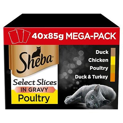 £15.70 • Buy 40 X 85g Sheba Select Adult Wet Cat Food Pouches Mixed Poultry In Gravy
