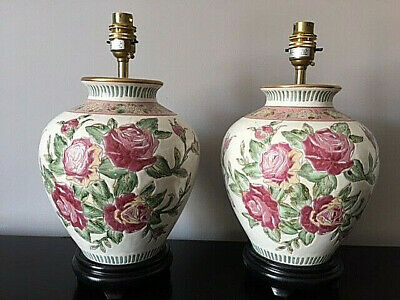 £75 • Buy A Pair Of Chinese Oriental Jar Ceramic Lamps With Floral Detail On A Wood Base