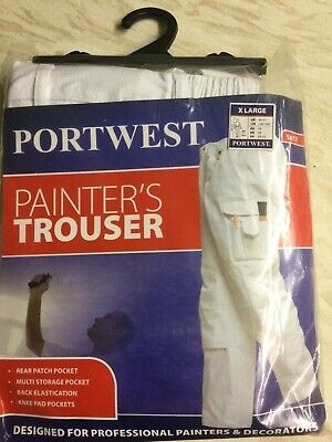 £12 • Buy PORTWEST Mens Painters Trousers Extra Large Protect Cotton Multi Pocket White