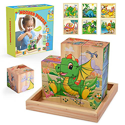 £14.19 • Buy Wooden Toys For 2 3 4 5 6 7 8 Year Old Boys Girls, Wooden Puzzle Dinosaur Toys