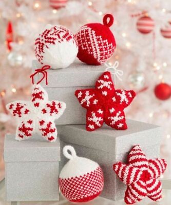 £1.99 • Buy Knitting PATTERN -  BAUBLES AND STARS Christmas Decorations/Ornaments Aran Knit