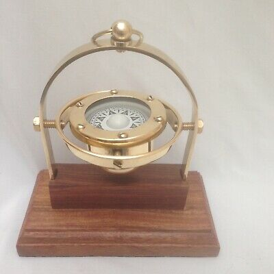 £23.99 • Buy Nautical Marine Gimballed Solid Brass Ship Compass On Wooden Stand - Gift