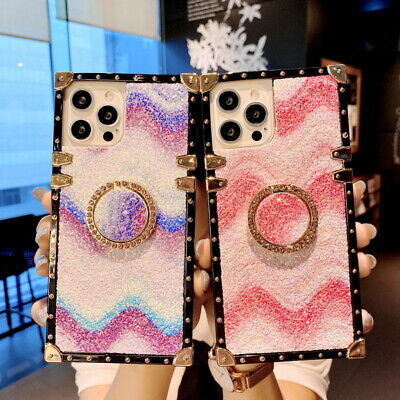 AU8.06 • Buy For IPhone 12 11 Pro Max XS XR 8 7 Bling Wave Pattern Ring Stand Soft Case Cover