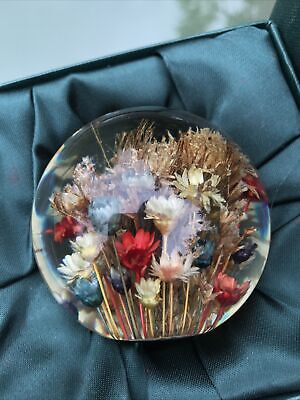 £19.99 • Buy Hafod Grange Mixed Flora Preserved Flower Resin Paperweight 1996 Boxed