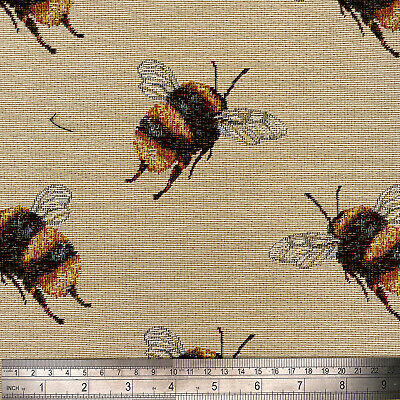 £15.95 • Buy Tapestry Fabric Upholstery Furnishings Curtains Bees Cushions 140cm Wide