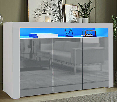 £139.99 • Buy High Gloss Sideboard Tv Unit Cabinet Cupboard Storage Display With Led Lights