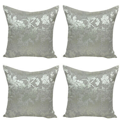 £10.99 • Buy SET OF 4 Contemporary Stylish Handmade Silver Linen Flock Cushion Covers 18x18