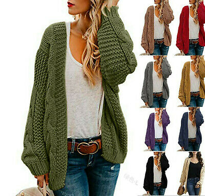 £20.98 • Buy  Winter Womens Chunky Cable Knitted Oversized Cardigan Cape Top Coat Plus Size.