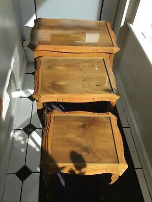 £18 • Buy Wooden Nest Of Tables With Glass Tops