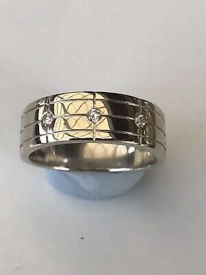 AU549 • Buy MHJ 10ct 3 Diamond White Gold Ring 7.8g Solid Mens Ring Size T Or 62