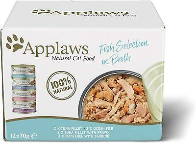 £11.21 • Buy Applaws Natural Wet Cat Food Multipack Fish Selection In Broth 70 G Tin Pack 12