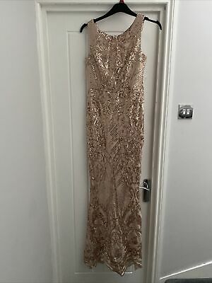 £40 • Buy Quiz Golden Sequin Floor Length Fitted Evening Gown Size 12. Only Worn Twice.