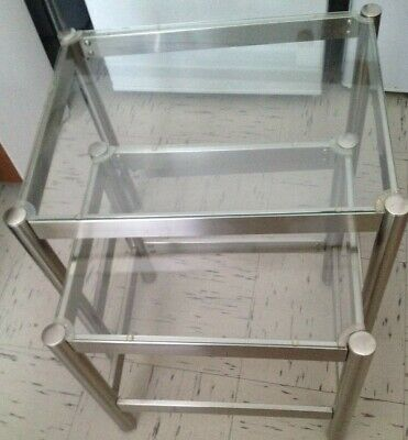 £25 • Buy Used Chrome & Glass Nest Of Tables