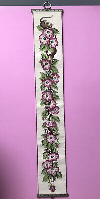 £24.99 • Buy Vintage Pink Floral Embroidered Needlepoint/ Tapestry Wall Hanging Bell Pull